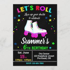 Roller skate birthday invitation Skating party