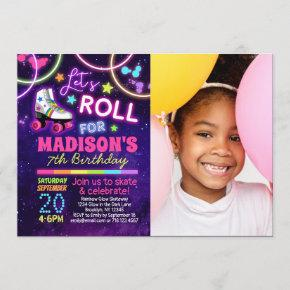 Roller Skate Birthday Party Invitation with Photo