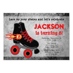 Roller Skate Extreme Boy's Birthday Invitations