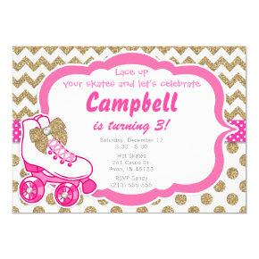 Roller Skate Glitter Gold and Pink Birthday Invite