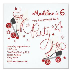 Roller Skate Party Invitation - Red