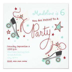 Roller Skate Party Invitation Red + Aqua