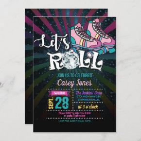 Roller Skating Birthday Invitation - Girl