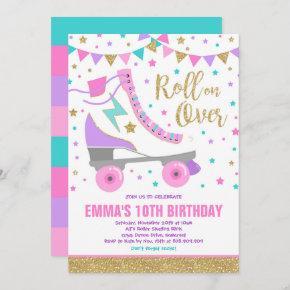 Roller Skating Birthday Invitation Skating Party