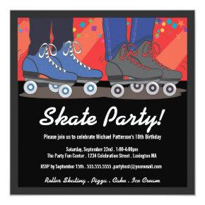 Roller Skating Birthday Party Invitation for Boys