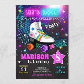Roller Skating Birthday Party Invitation / Neon