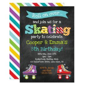 Roller Skating Boy Girl Birthday Party Invitation