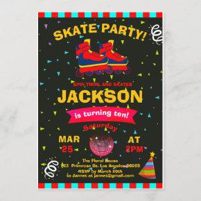 Roller Skating Chalkboard Confetti Birthday Party Invitation