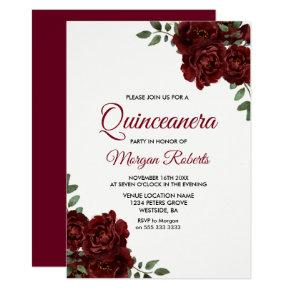 Romantic Burgundy Red Rose Quinceanera Invite