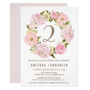Romantic Pink Peonies Wreath Birthday Party Invitation
