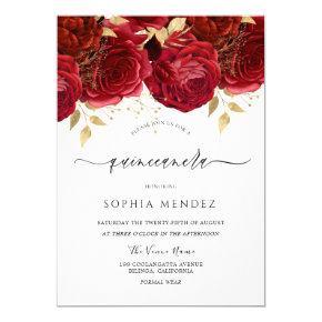 Romantic Red Roses Elegant Quinceanera Party Invitation