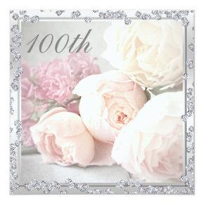 Romantic Roses & Diamonds 100th Birthday Party Card