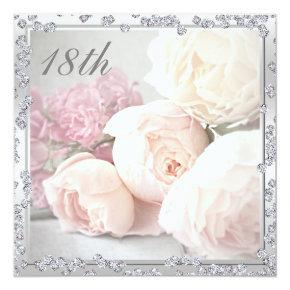 Romantic Roses & Diamonds 18th Birthday Party Invitation