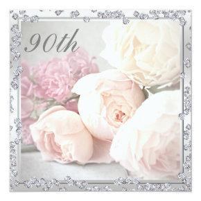 Romantic Roses & Diamonds 90th Birthday Party Card