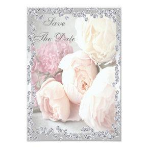 Romantic Roses & Diamonds 90th Save The Date Card