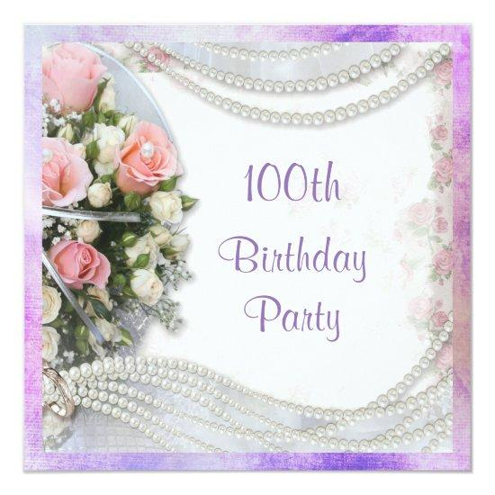 romantic roses pearls 100th birthday party invitations candied
