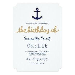 Rope and Anchor Nautical Birthday Invitation