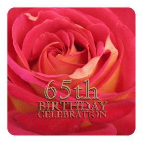 Rose 65th Birthday Celebration Custom Invitation