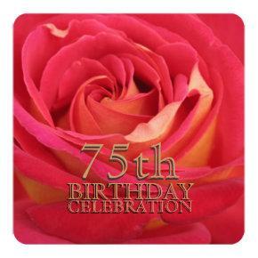 Rose 75th Birthday Celebration Custom Invitation