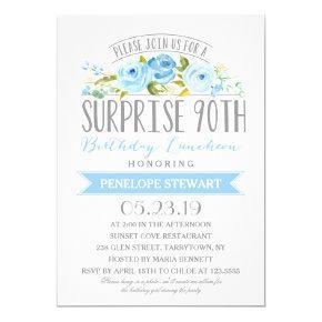 Rose Banner Surprise 90th Birthday Luncheon Invitations