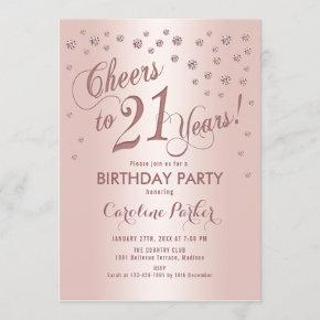 Rose Gold 21st Birthday Party Invitation