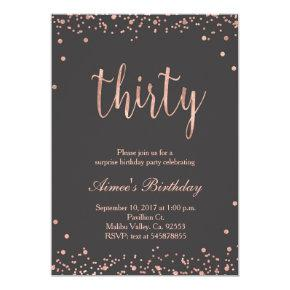 Rose Gold 30th Birthday Invitation