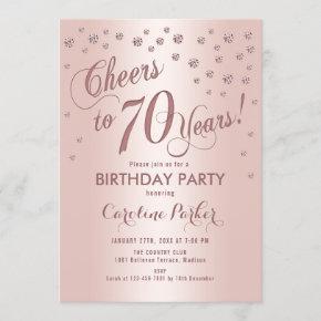 Rose Gold 70th Birthday Party Invitation