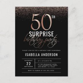 Rose Gold and Black Surprise 50th Birthday Party Invitation Post