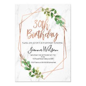 Rose gold and marble 30th Birthday invitation