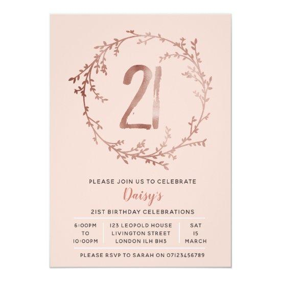Rose Gold Birthday Girls 21st Invitation