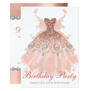 Rose Gold Birthday Party Sparkle Gown Pixie Wings Invitation
