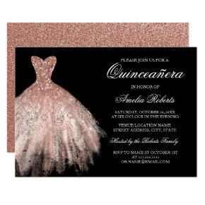 Rose Gold Black Glitter Dress Quinceanera Invitations