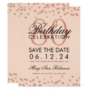 Rose Gold Blush 80th Birthday Save Date Confetti Invitation