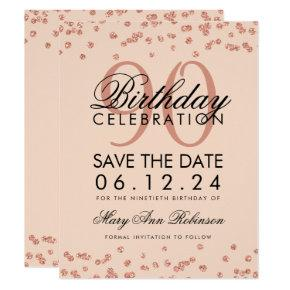 Rose Gold Blush 90th Birthday Save Date Confetti Invitation