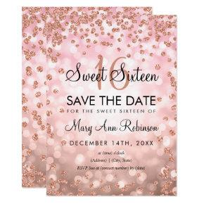 Rose Gold Blush Sweet 16 Save The Date Glitter Invitation