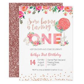 Rose Gold Bunny 1st Birthday Floral Invitations