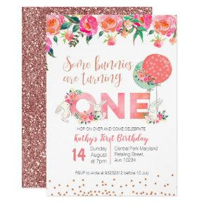 Rose Gold Bunny TWIN Birthday Floral Invitation