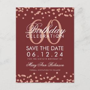 Rose Gold Burgundy 60 Birthday Save Date Confetti Save The Date