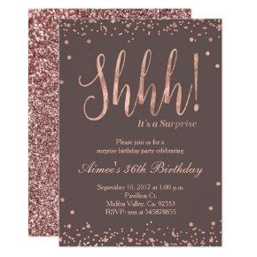 Rose Gold Confetti Birthday Party Invitation