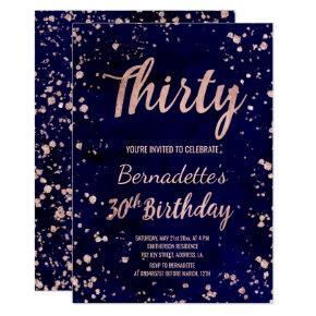 Rose gold confetti navy watercolor 30th Birthday Invitation