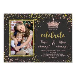 Rose Gold Confetti PRINCESS Frends Joint Birthday Invitation