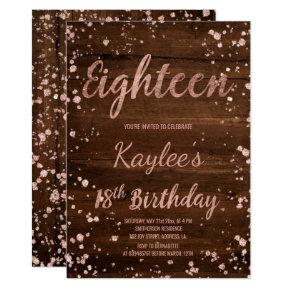 Rose gold confetti rustic wood 18th Birthday Invitation