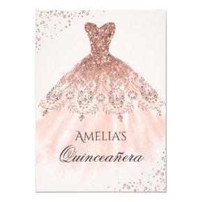 Rose Gold Dress Sparkle Quinceanera Invitations