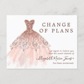 Rose Gold Dress Sweet 16 Birthday Change of Plans Announcement Post