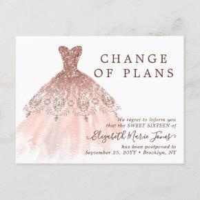 Rose Gold Dress Sweet 16 Birthday Change the Date Announcement Post