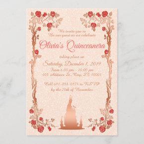 Rose Gold Fairytale Quinceanera Invitation