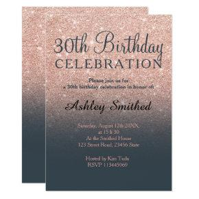 Rose gold faux glitter grey ombre 30th birthday invitation