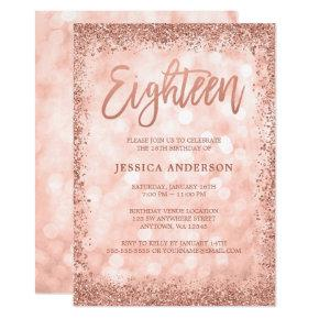 Rose Gold Faux Glitter Lights 18th Birthday Invitations