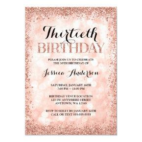 Rose Gold Faux Glitter Lights 30th Birthday Invitation