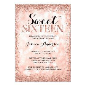 Rose Gold Faux Glitter Lights Sweet 16 Birthday Invitations